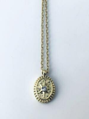 """14K Gold Plate Sterling CZ Starburst 16"""" Necklace /20012"""