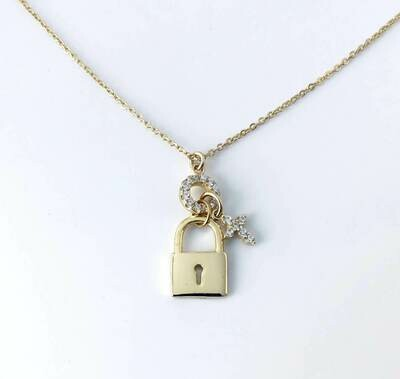 "Lock & cross charm necklace 16"" Long"