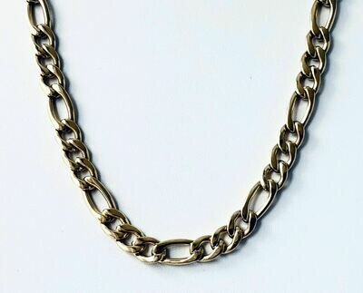 """Bold 14K Gold Plate Steel Link Chain 16"""" Necklace"""