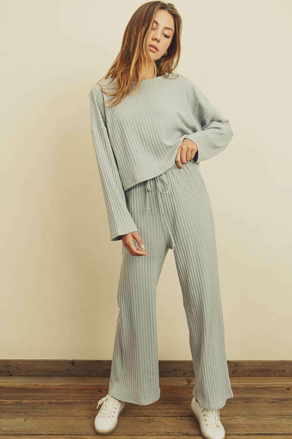 Dusty Blue-Gray Ribbed Lounge Set