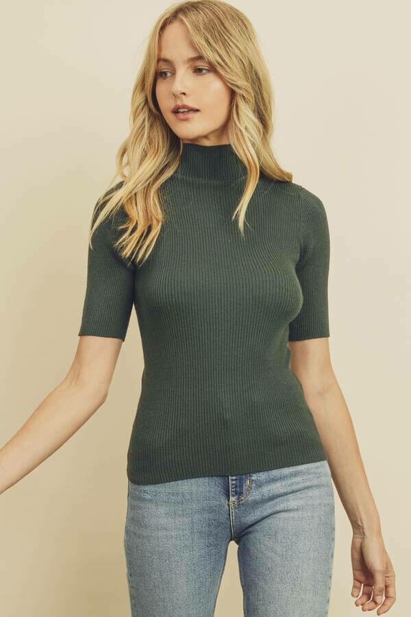 pine ribbed mock neck top