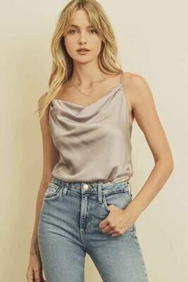Pale Mauve Satin Cowl Neck Cami Bodysuit