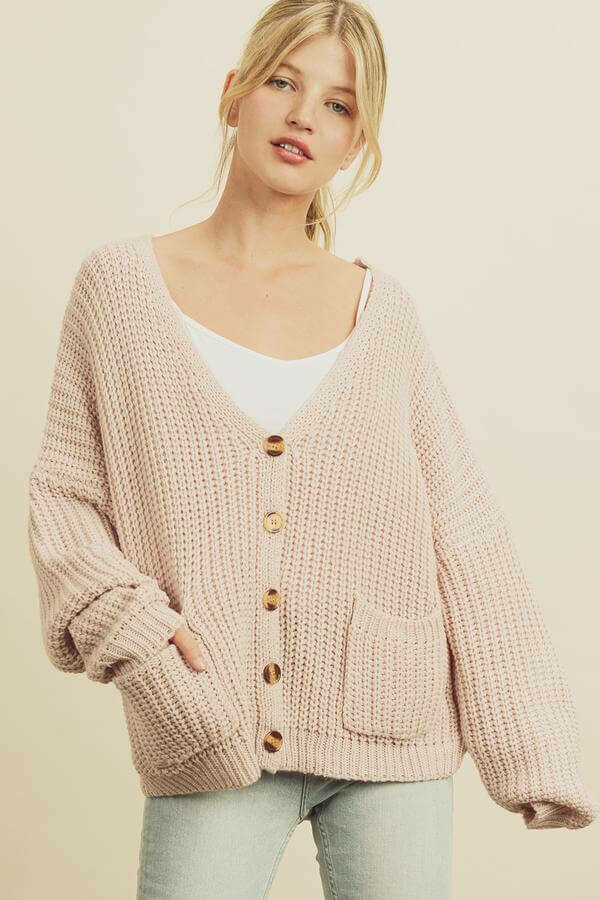 Pink Chunky Knit Cardigan