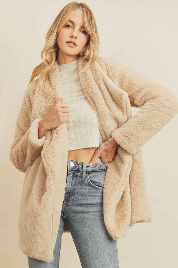 Almond faux fur open front coat