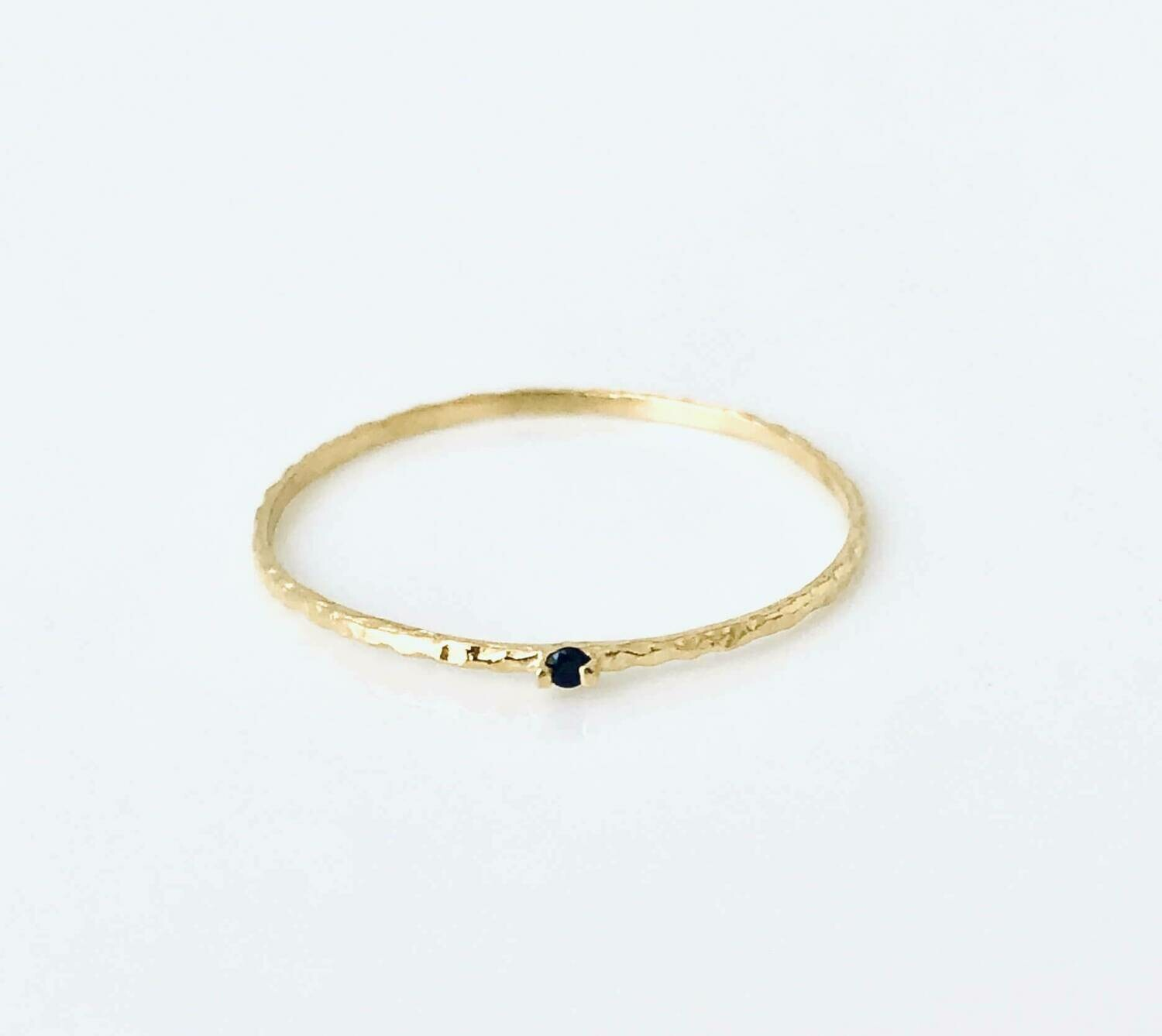 14k gold plate sterling silver black cubic zirconia ring