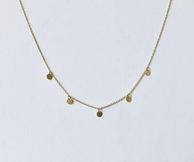 """14k Gold Plate Brass Dots 16"""" Necklace /20004"""
