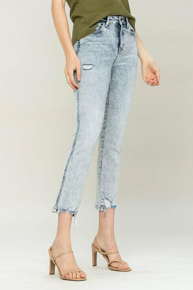 High Rise Acid Wash Straight Leg Jean