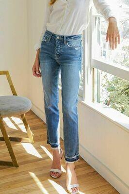 High Rise Released Hem Straight-Leg Ankle Jean