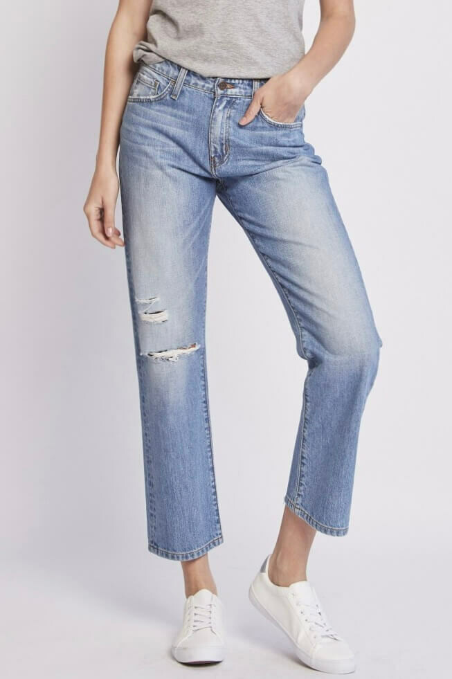High Rise Crop Straight Leg Jean