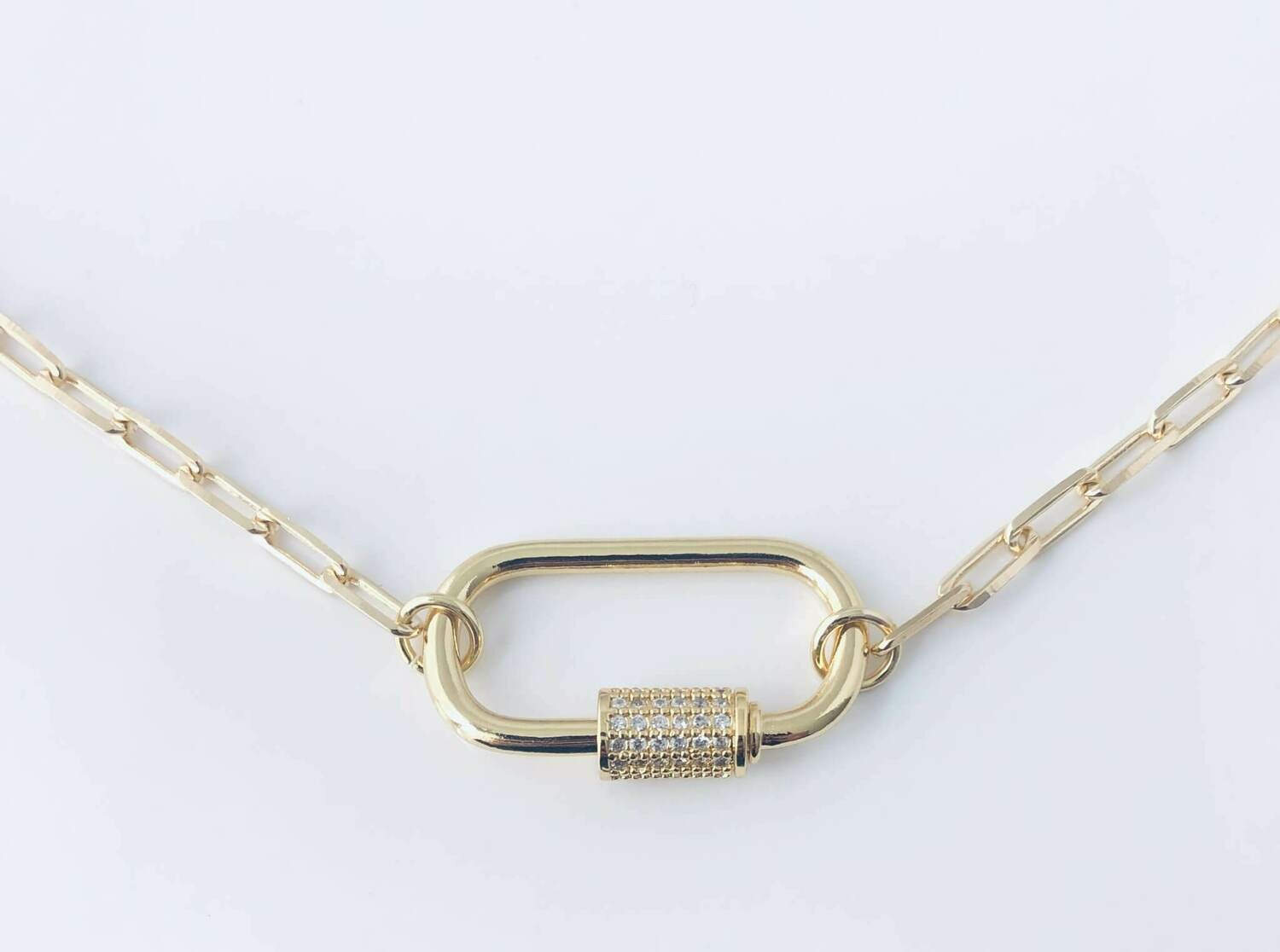 """Lock Clip Chain with CZ's 16"""" 14k Gold Filled /20043"""