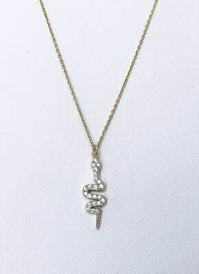 "Cubic Zirconia Snake 16"" Necklace- in silver or gold"