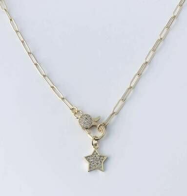14k gldplt brass cz clasp & star 16