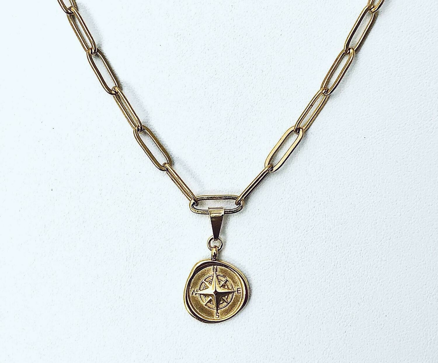 """14k gold plate steel 16""""clip chain w/compass charm"""