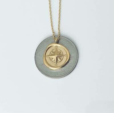 14k gldplt steel compass 16