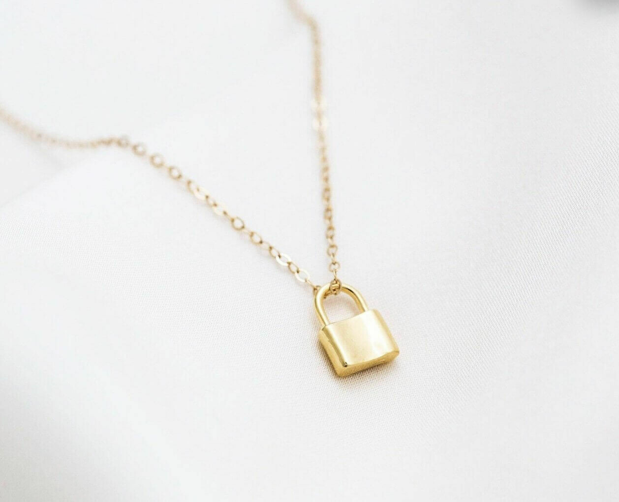 14K goldplate sterling silver clip chain with lock