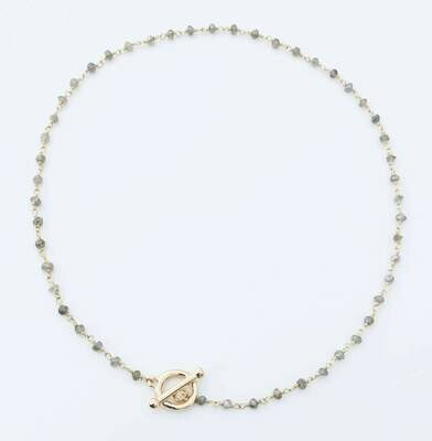 """Labradorite toggle chain 16"""" necklace 14k gold filled /453"""