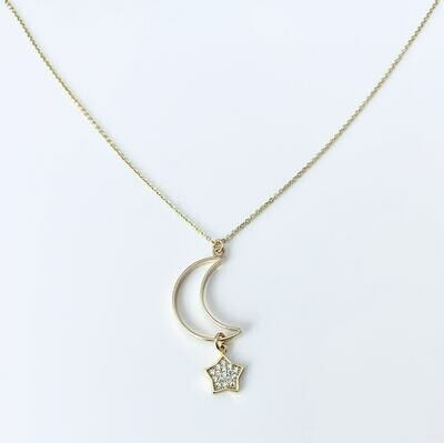 Moon Outline CZ Star Dangle Necklace