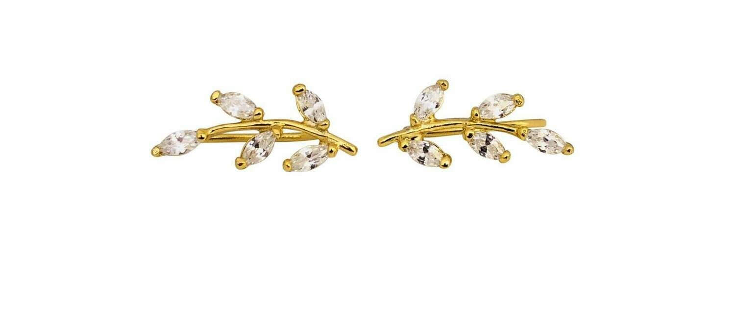 14K goldplate sterling silver cubic zirconia branch climber earrings