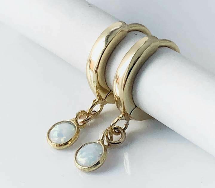 Opal Huggies 14k Gold Plate Sterling Earrings /20128