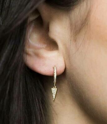 CZ Spike 14k Gold Plate Sterling CZ Huggie Earrings /20058