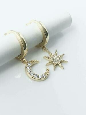 14k gldplt cz star/moon huggies /108