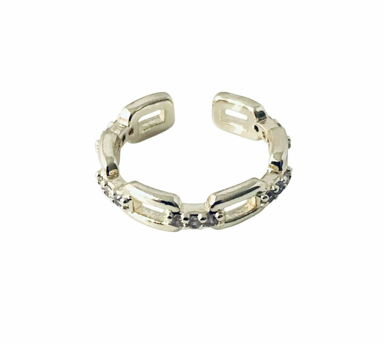 14k gold plate sterling chain cz ear cuff