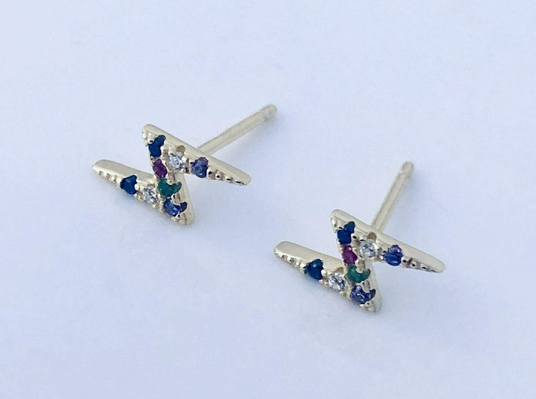14k goldplate sterling silver rainbow lightning post earrings