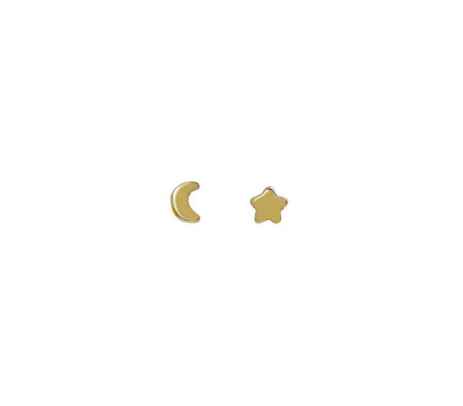 14k gldplt ster star/moon studs /210