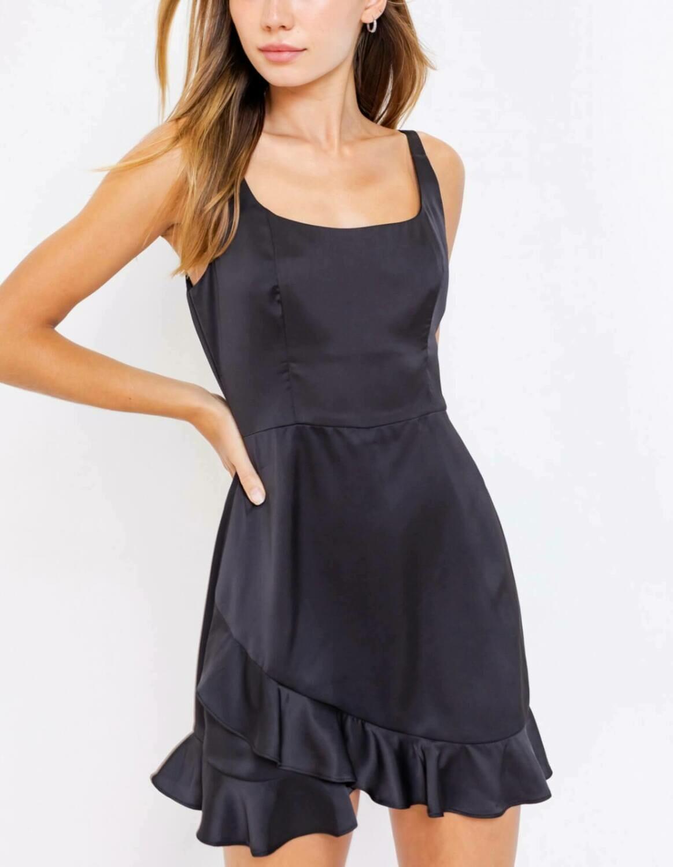 Black satin romper/dress