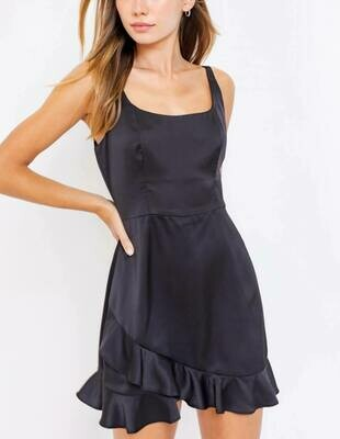 Black satin romper/dress