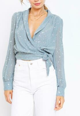 Sage star wrap top