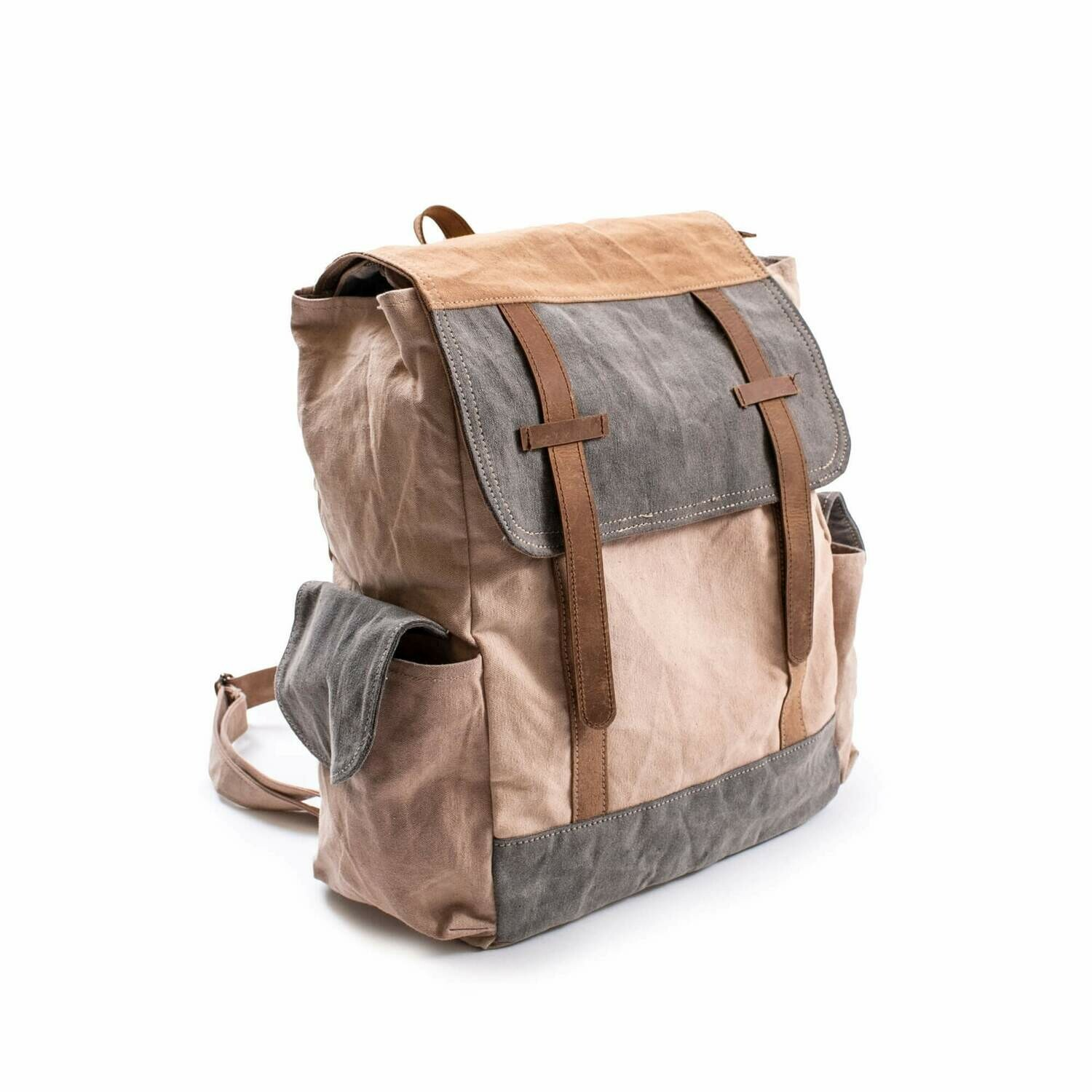 Washed Canvas Backpack with leather trim