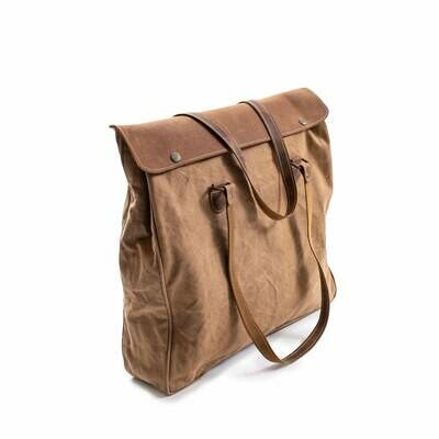 Washed Canvas Shoulder Bag with leather straps