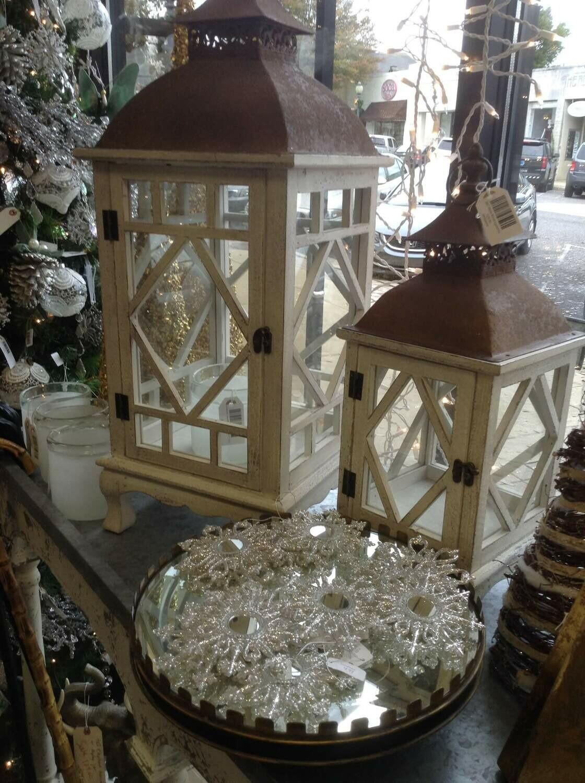 Set2 White Wood Lanterns