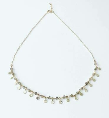 14k goldplate sterling labradorite dots necklace