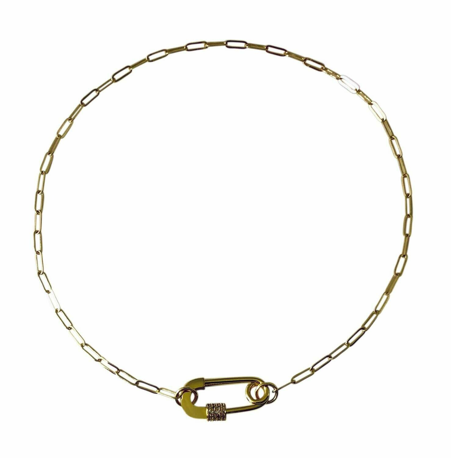 """14k Gold plated brass clip chain necklace with safety pin ,16"""" long /20493"""