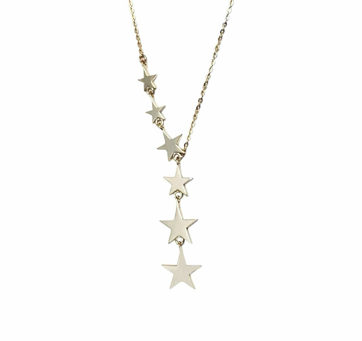 """Star 14K Gold Plated Sterling Silver 16""""-18"""" Long Y necklace /20368"""