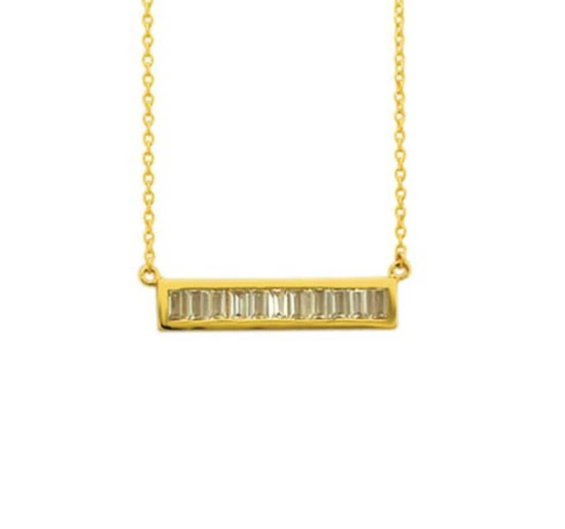 CZ Baguette Bar 14K Gold Plate Sterling Necklace /20058