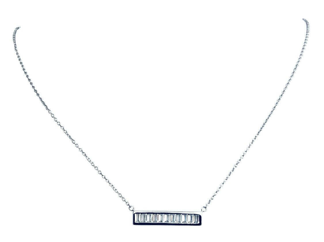 Sterling Silver CZ Baguette Bar Necklace