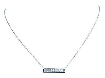 CZ Baguette bar necklace