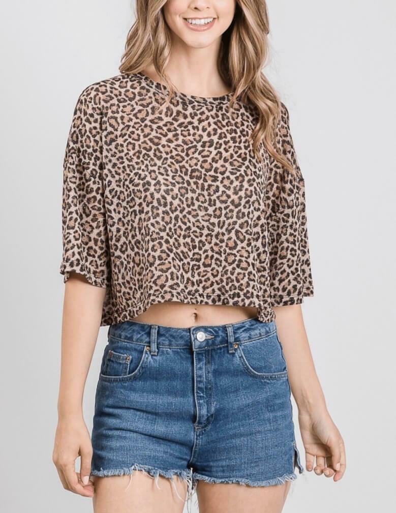 Glitter Leopard Crop Top