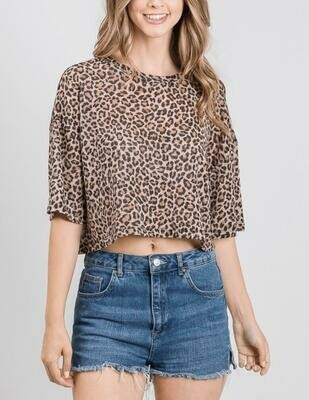 Glitter Leopard Crop Top