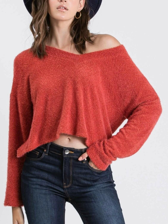 Fluffy V-neck Sweater