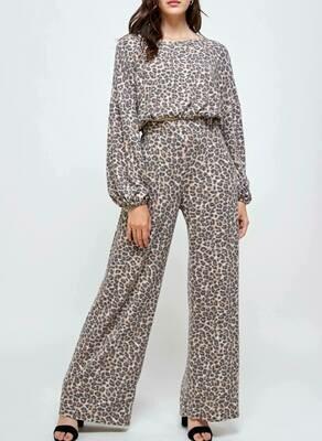Fuzzy Leopard Lounge Pants