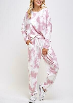 Blush Tie-dye Lounge Set