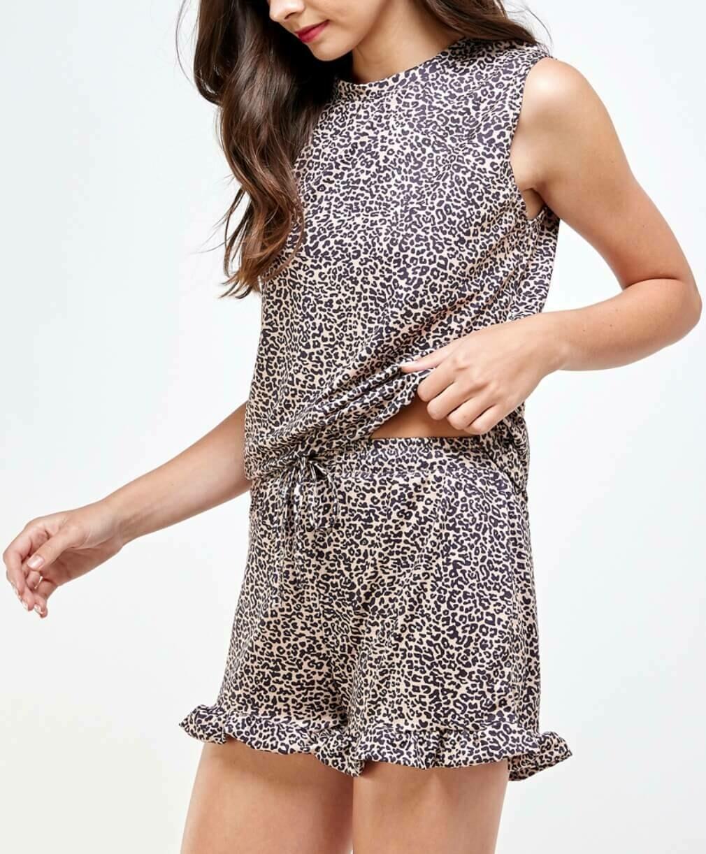 Leopard Ruffle Hem Shorts