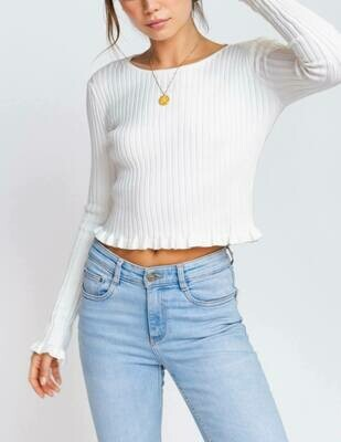 Tiny Ruffle Trim Sweater