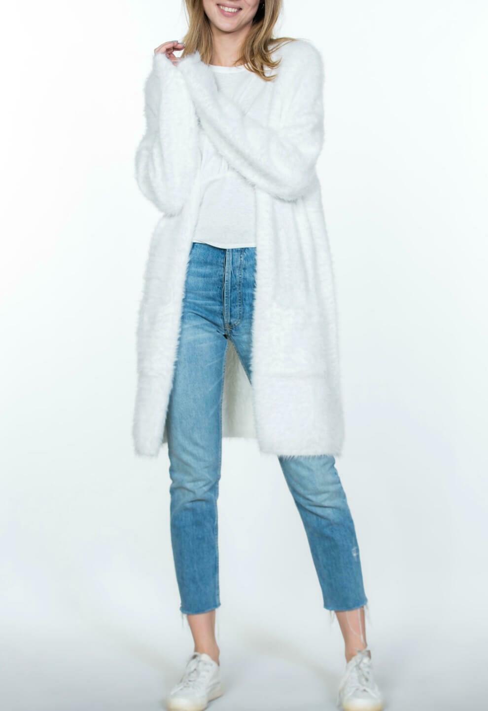 Long Fuzzy White Cardigan