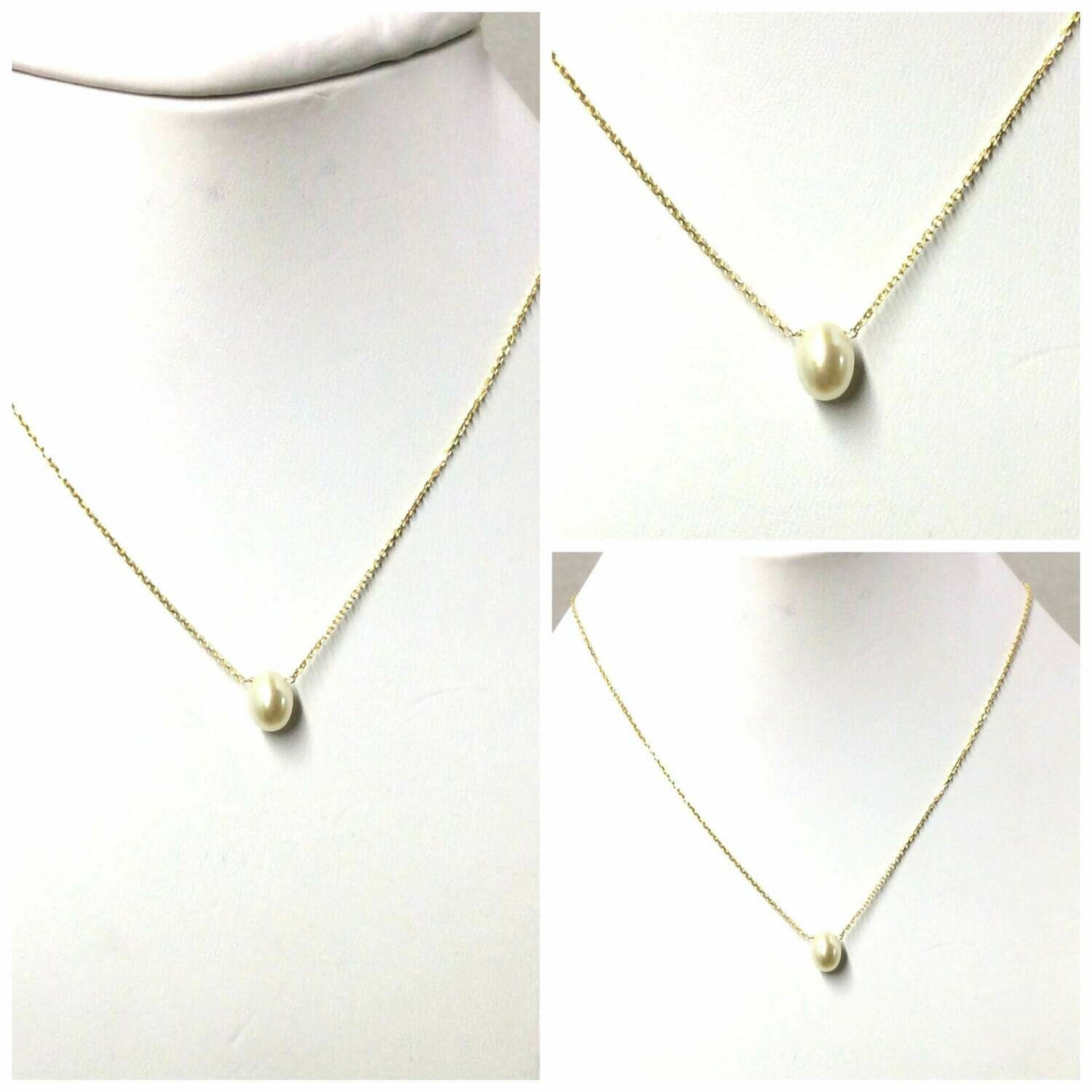 """White Baby Pearl 16"""" Long Necklace  /20356"""