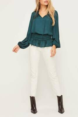 Satin Smocked Waist Top